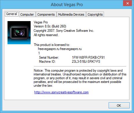 Sony Vegas Pro 8 активация