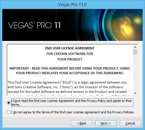лицензионное соглашение Vegas Pro 11